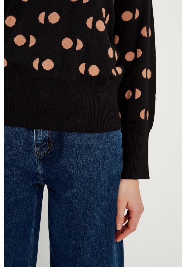 Pull à motifs noir en coton bio - emilia - People Tree num 2