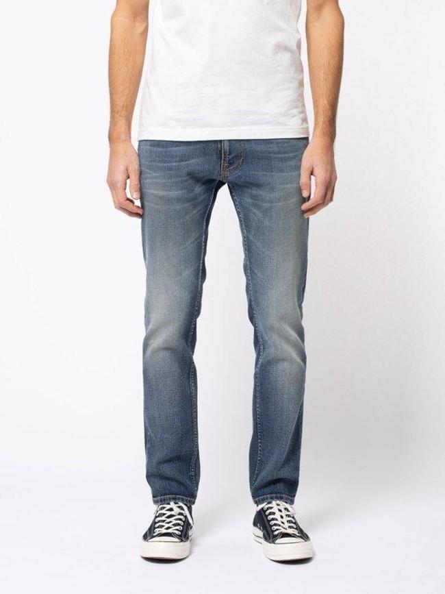 Jean bleu délavé en coton bio - thin finn blue temple - Nudie Jeans