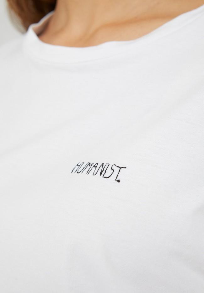 T-shirt brodé blanc en coton bio - maraa mindset - Armedangels num 1