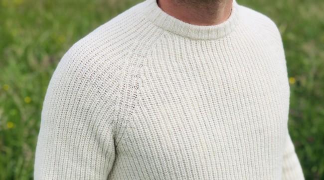 Pull raglan lapiaz - laine blanc écru - Maison Izard num 3