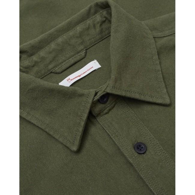 Surchemise manches longues verte effet moleskine en coton bio - Knowledge Cotton Apparel num 2