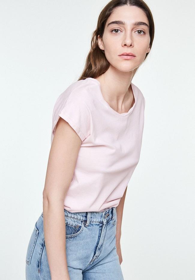 T-shirt uni rose pale en coton bio - laale - Armedangels