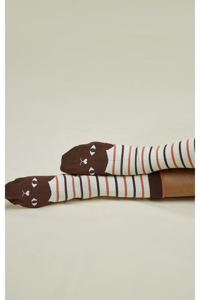 Chaussettes hautes rayées à motifs chats en coton bio - People Tree num 1