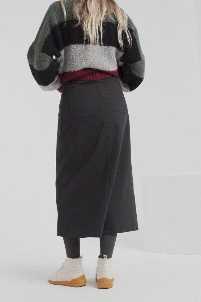 Jupe longue twill noire en coton bio - valentina - Thinking Mu num 1