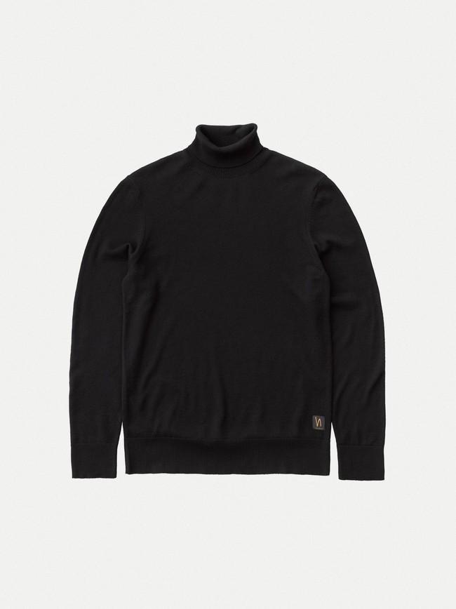 Pull col roulé noir en coton bio - cornelis - Nudie Jeans num 6
