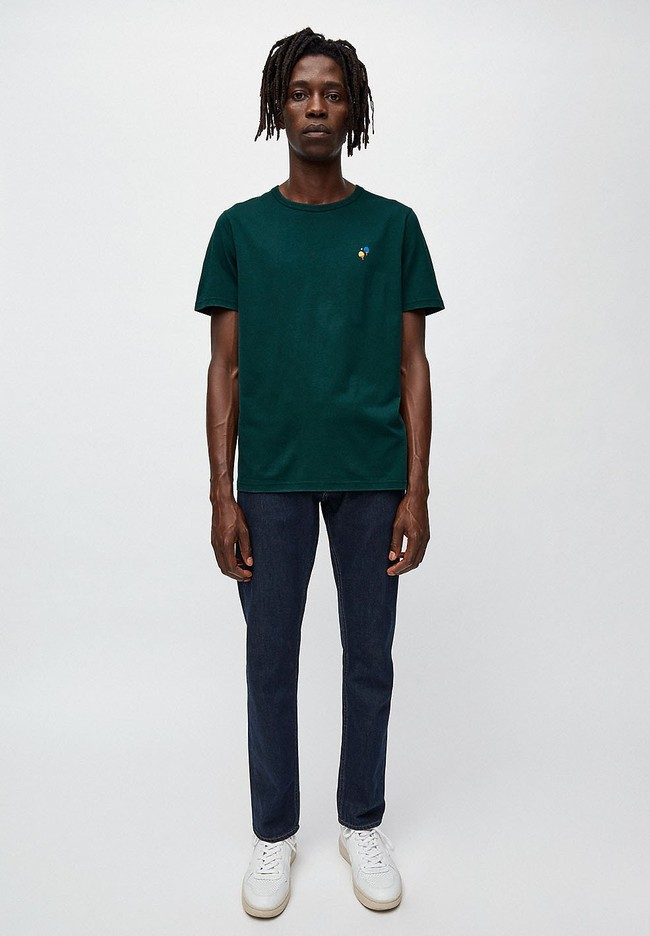 T-shirt vert foncé en coton bio - paul ping pong - Armedangels num 1