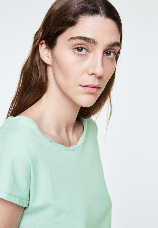 T-shirt uni vert menthe en coton bio - laale - Armedangels num 1