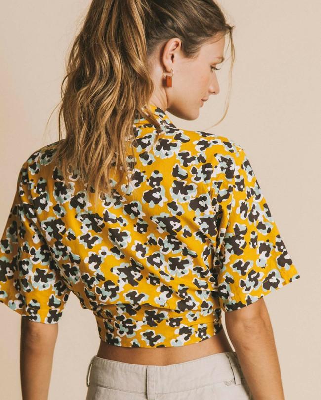 Blouse jaune imprimé fleurs en coton bio - flowers lomami - Thinking Mu num 3