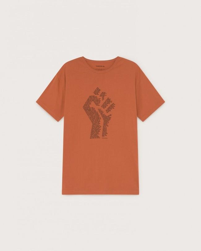 T-shirt imprimé terracotta en coton bio - human rights - Thinking Mu num 4