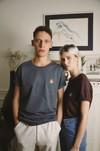 T-shirt brodé prune en coton bio - rose - Johnny Romance - 1