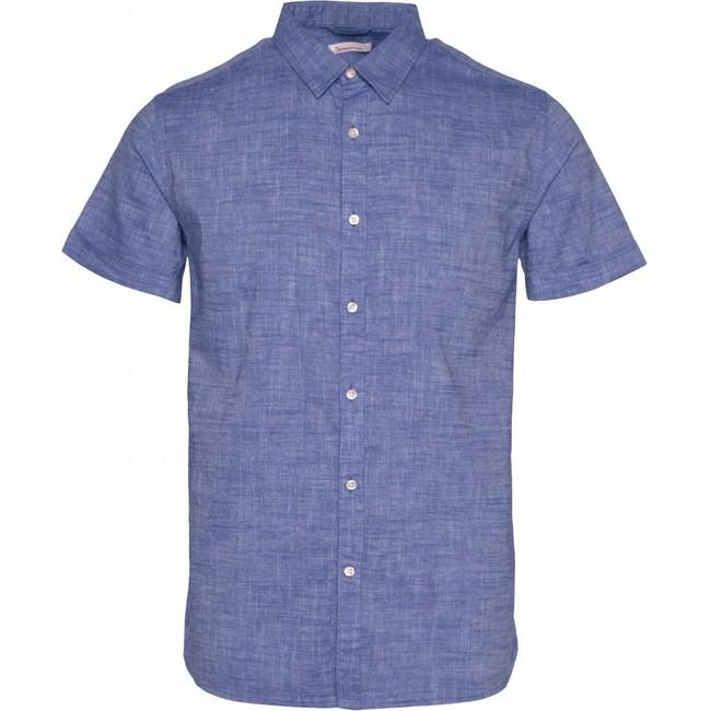 Chemise à manches courtes bleu en lin et coton bio - larch - Knowledge Cotton Apparel
