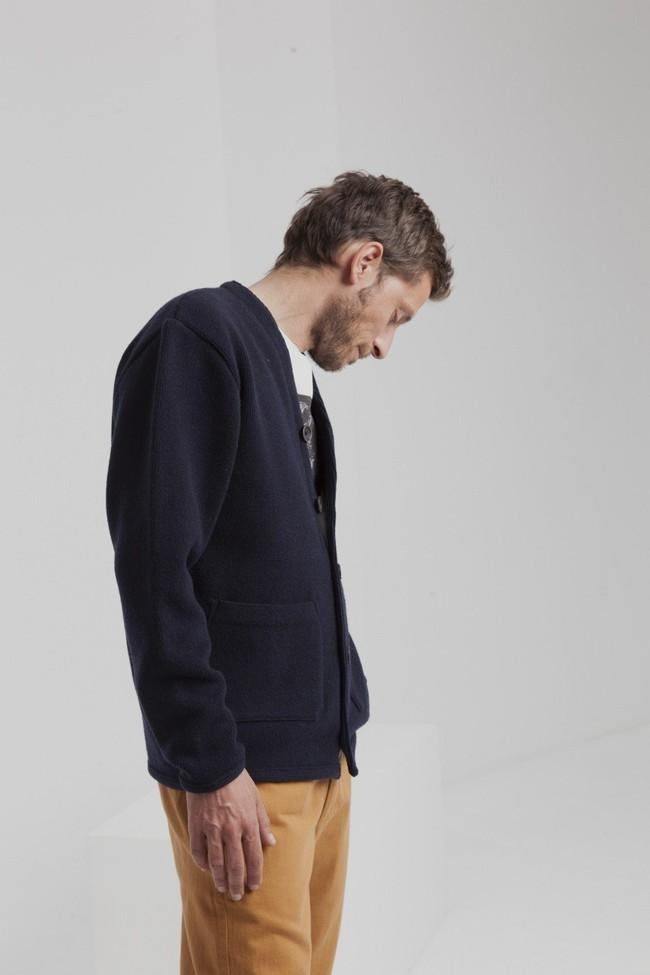Cardigan marine en laine fine - Thinking Mu num 1