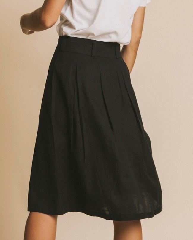 Jupe mi-longue noire en coton bio - tugela - Thinking Mu num 3