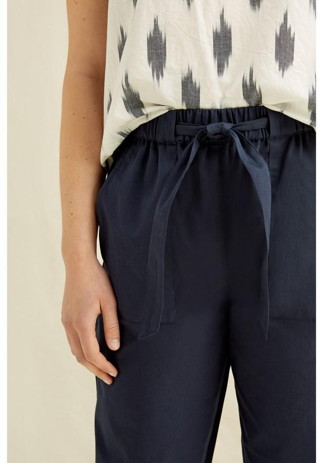 Pantalons à pinces marine en coton bio - tinsley - People Tree num 3