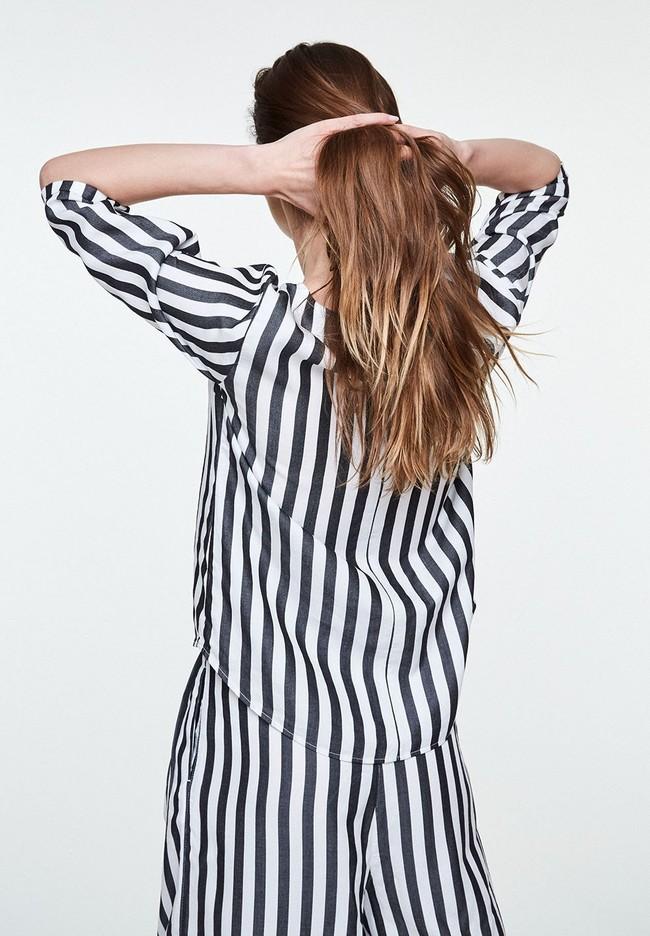 Blouse rayée noire en tencel - heddaa big stripes - Armedangels num 3
