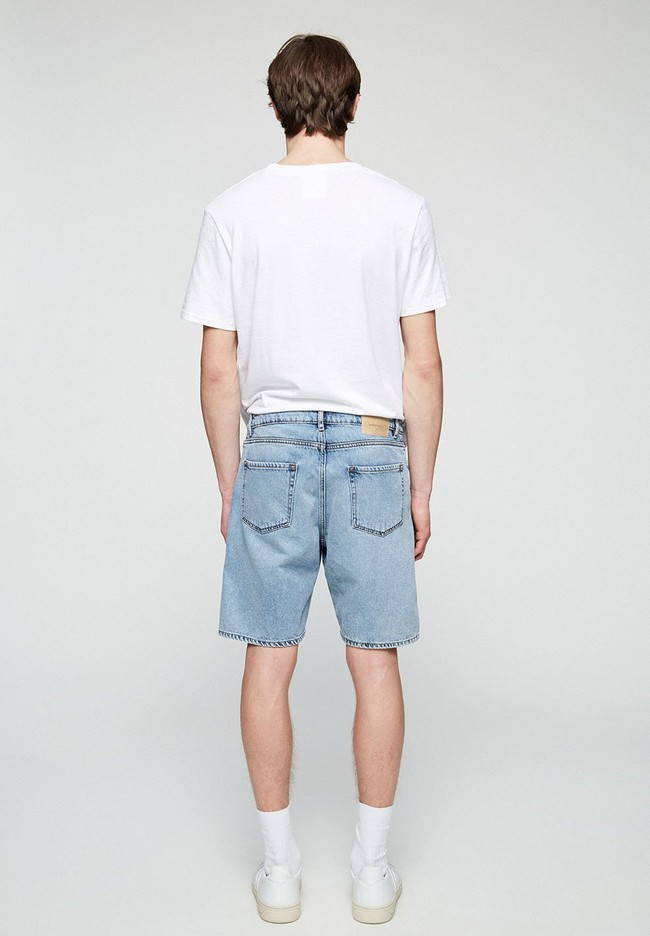 Short jean bleu clair délavé en coton bio - haauke - Armedangels num 1