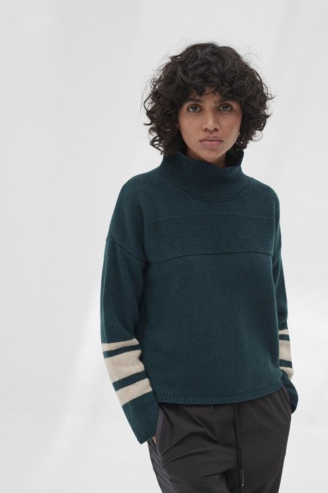 Pull en maille col haut vert en laine recyclée - dema - Ecoalf