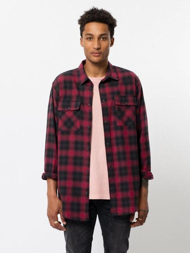 Chemise à carreaux rouge et noir - gabriel - Nudie Jeans