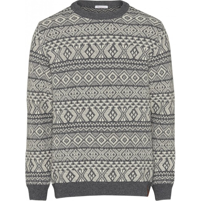Pull jacquard gris en coton bio et laine - Knowledge Cotton Apparel num 0