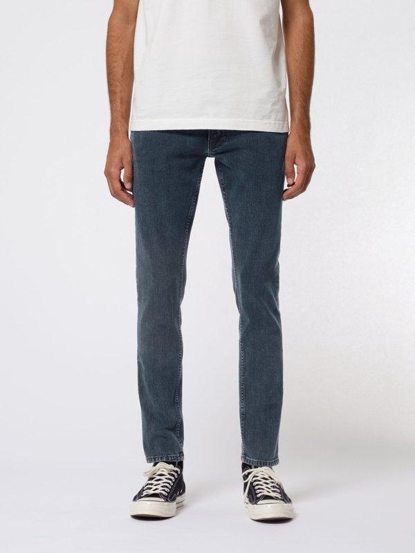 Jean skinny bleu foncé en coton bio - tight terry black ocean - Nudie Jeans
