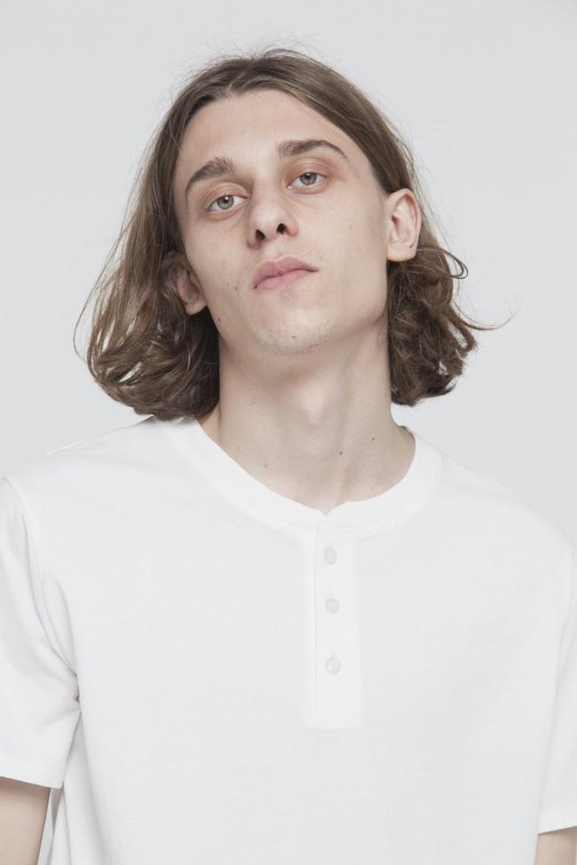 T-shirt avec col boutons blanc en coton bio - brad - Thinking Mu num 2