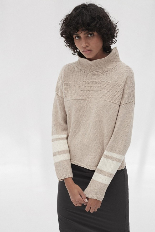 Pull en maille col haut beige en laine recyclée - dema - Ecoalf