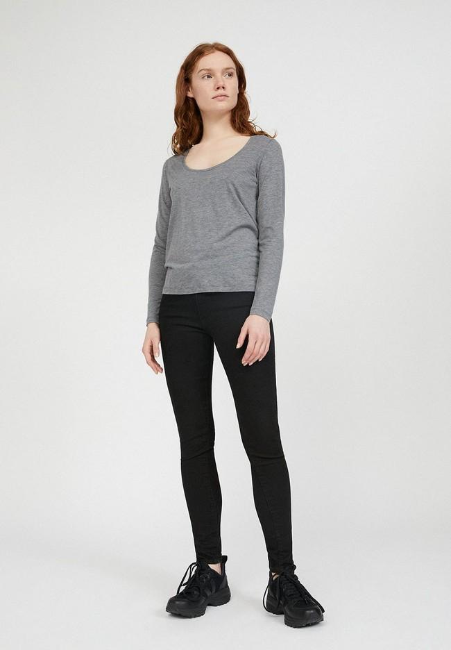 T-shirt manches longues gris en tencel et coton bio - jamaal - Armedangels num 1