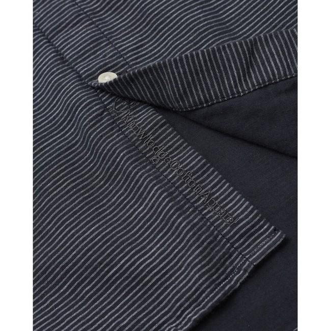 Chemise col mao rayée bleu nuit en coton bio - larch - Knowledge Cotton Apparel num 2