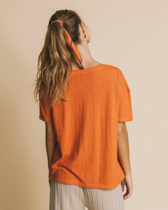 T-shirt col v terracotta en chanvre et coton bio - chloé - Thinking Mu num 3