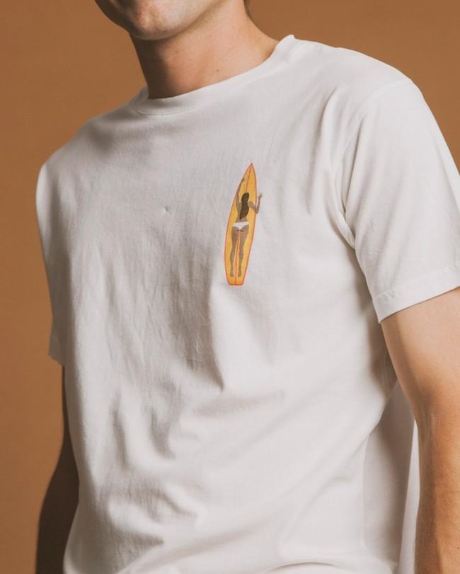 T-shirt blanc imprimé en coton bio - ceylan - Thinking Mu num 1