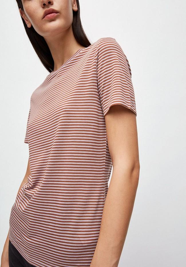T-shirt rayures lila et marron en coton bio - lidaa - Armedangels num 1