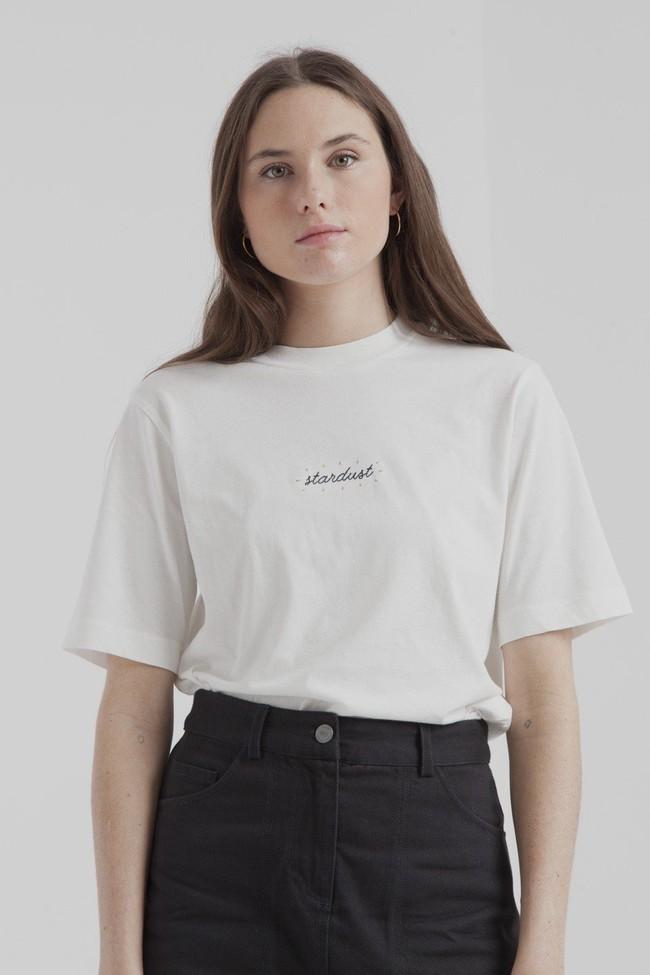 T-shirt blanc en coton bio - stardust - Thinking Mu