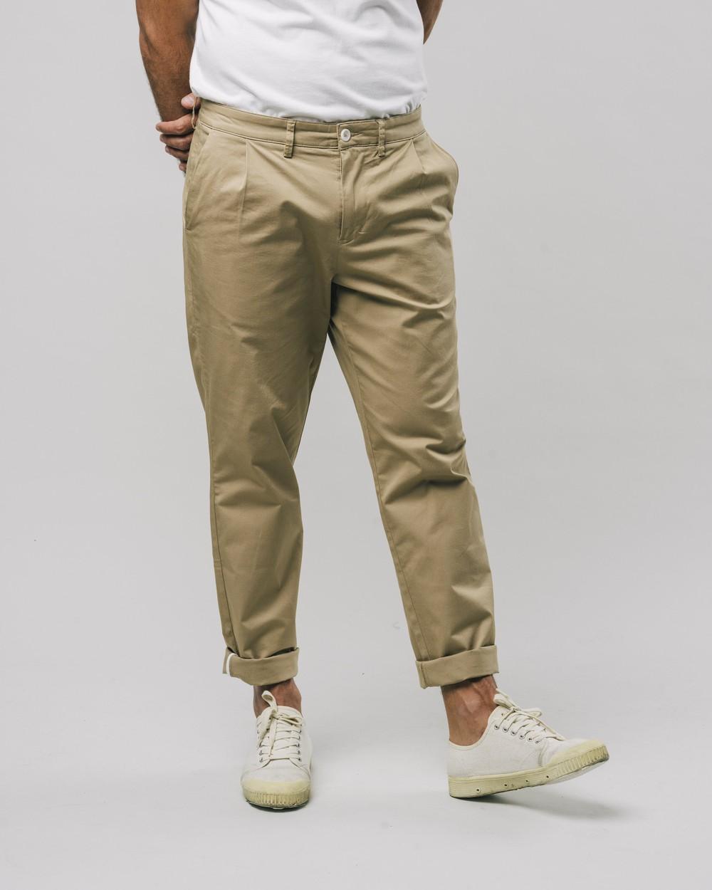 Pleated chino pants beige - Brava Fabrics
