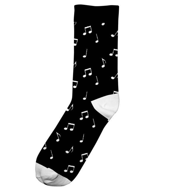 Chaussettes hautes noires motifs notes en coton bio - Dedicated