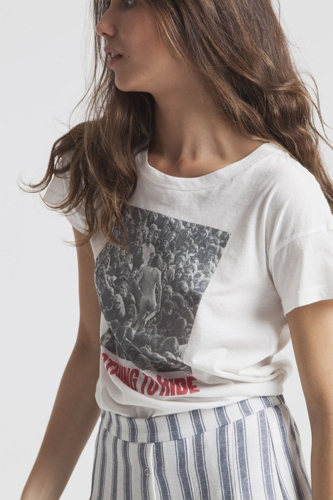 T-shirt imprimé blanc en coton bio - nothing to hide - Thinking Mu num 1