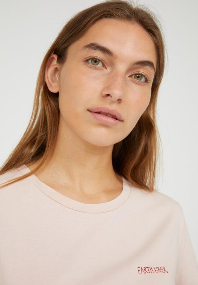 T-shirt brodé rose pâle en coton bio - maraa mindset - Armedangels num 2