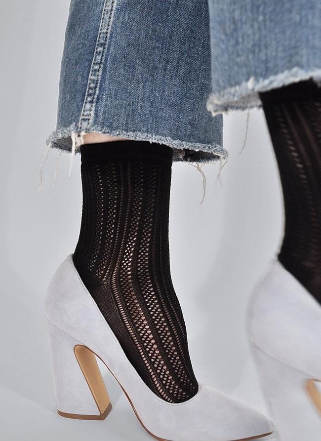 Chaussettes hautes noires à motifs en polyamide recyclé - klara - Swedish Stockings num 2