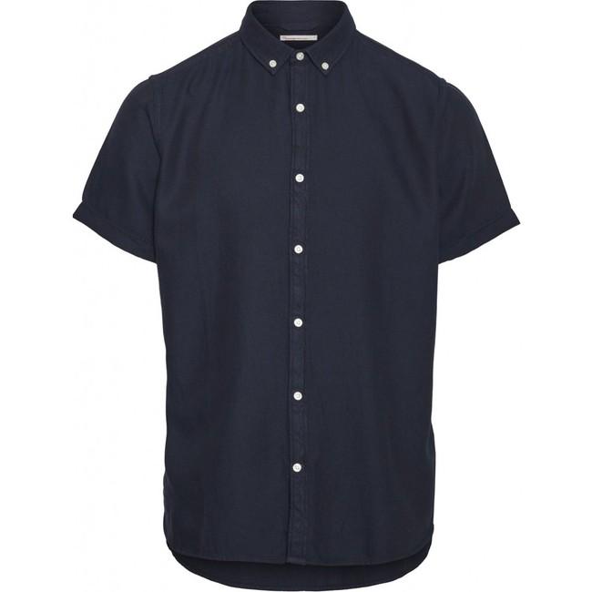 Chemise à manches courtes bleu nuit en tencel et coton bio - larch - Knowledge Cotton Apparel