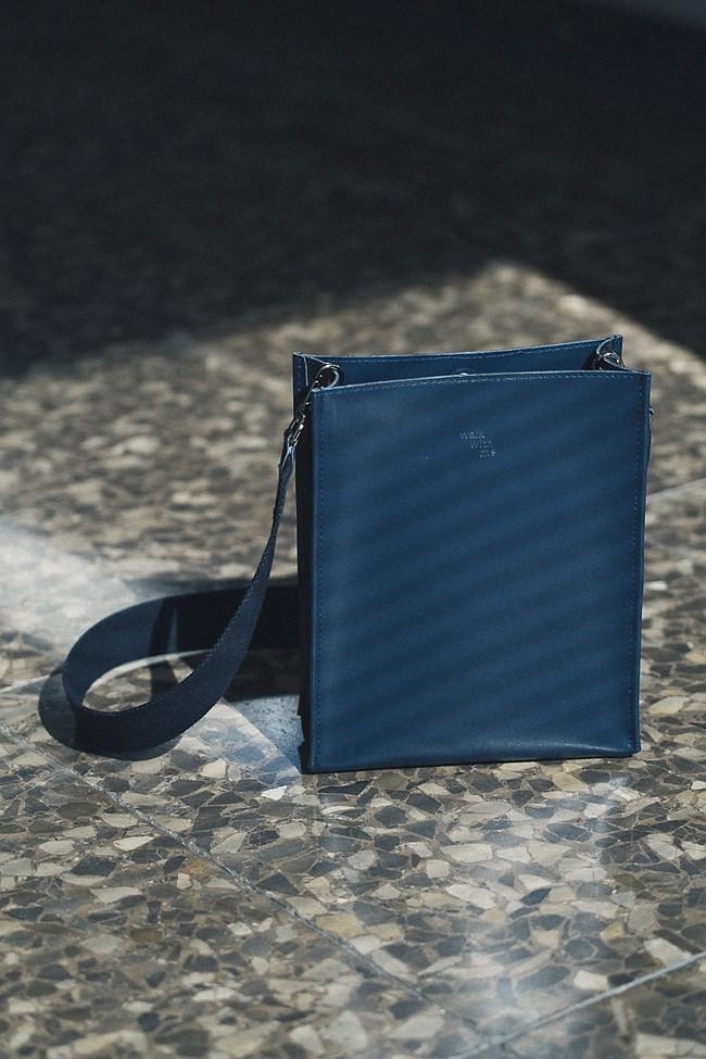Sac marine en cuir recyclé - book bag - Walk with me num 3