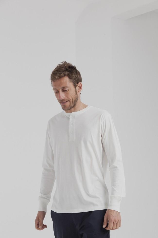 T-shirt manches longues col boutons blanc en coton bio - Thinking Mu