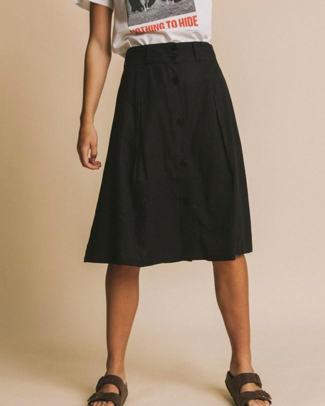 Jupe mi-longue noire en coton bio - tugela - Thinking Mu