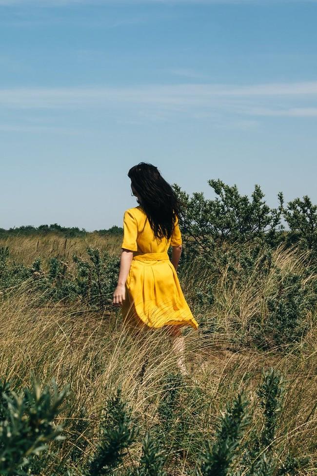 La Robe Moana en coton bio - bleu-gris - Atelier Unes num 3