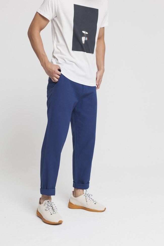 Pantalon bleu en coton bio -blue marcel - Thinking Mu num 3