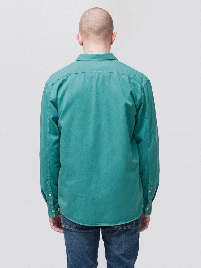 Chemise turquoise en coton bio - calle - Nudie Jeans num 2