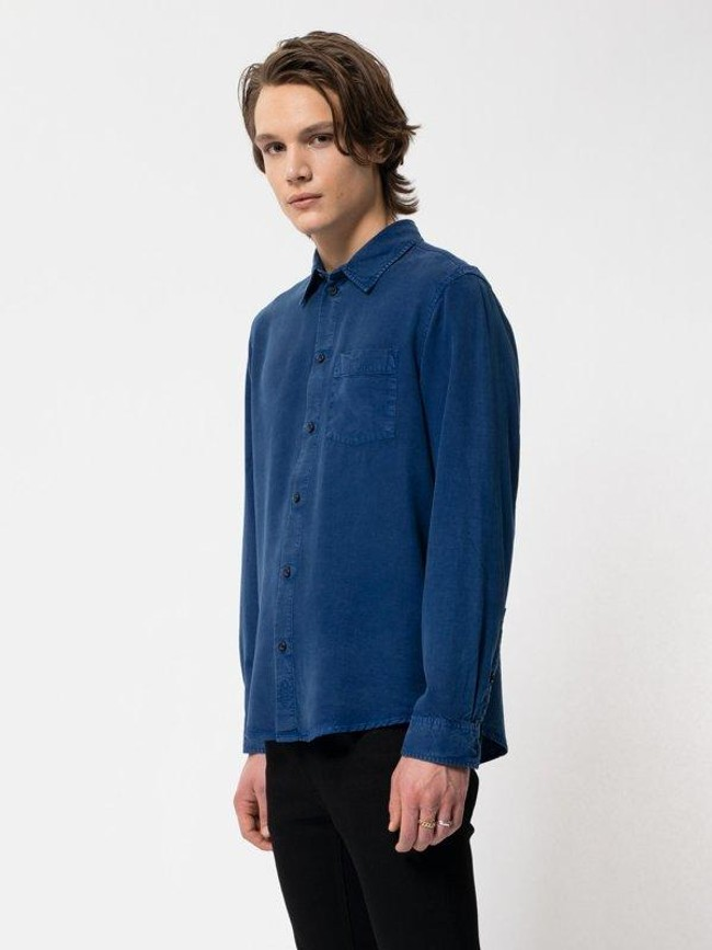 Chemise bleue en twill  - chuck smooth - Nudie Jeans num 4