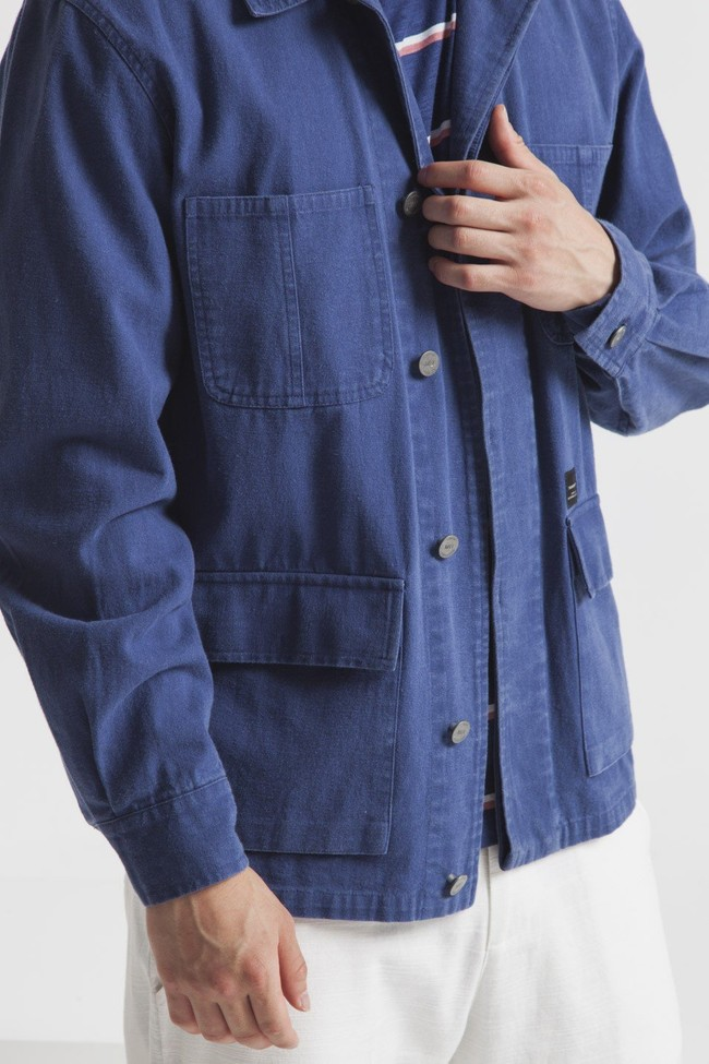 Veste bleue en coton bio - blue james - Thinking Mu num 2
