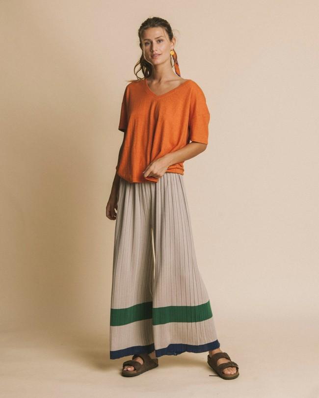 T-shirt col v terracotta en chanvre et coton bio - chloé - Thinking Mu num 2