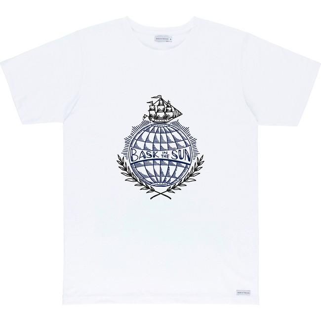 T-shirt en coton bio white traveller - Bask in the Sun