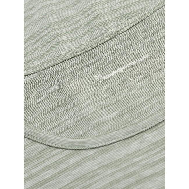 T-shirt vert clair chiné en coton bio - slope striped pique - Knowledge Cotton Apparel num 2