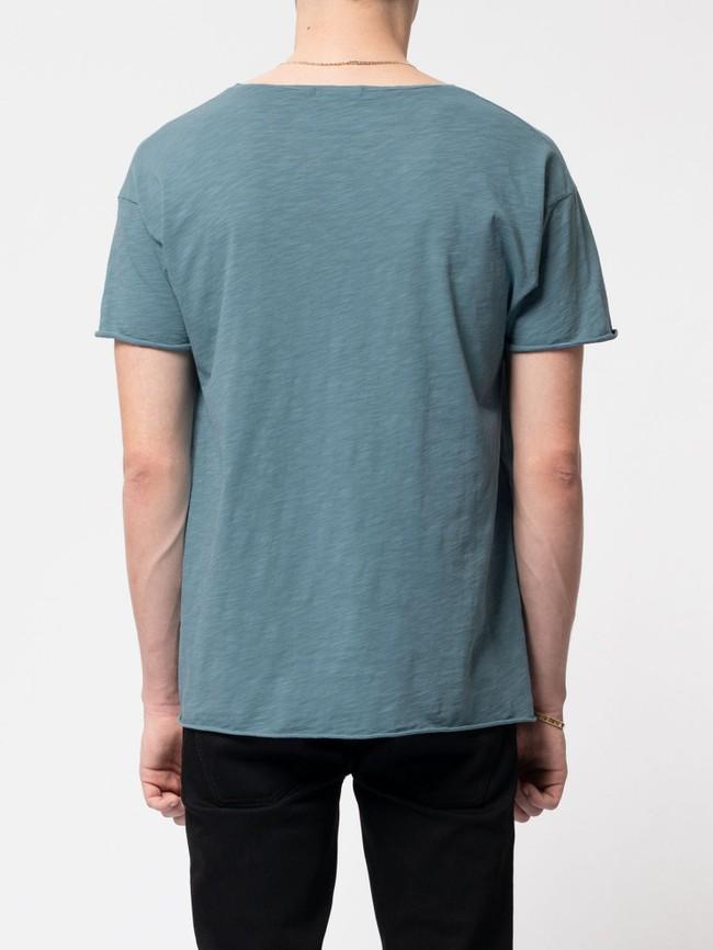 T-shirt bleu en coton bio - roger - Nudie Jeans num 2